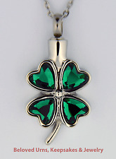 Green Four Leaf Clover Shamrock Cremation Jewelry Keepsake Urn Pendant & Chain