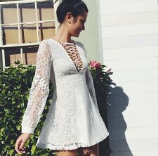 Sold Out! LF Millau cream crochet lace detailed  lace up dress NWT sz XS