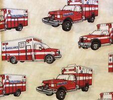 RPG340 Ambulance Emergency Vehicle 911 1st Responder Rescue Cotton Quilt Fabric
