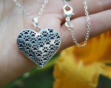 .925 Sterling Silver NECKLACE Paw Prints Heart Cat Dog Pet Lover Gift For Rescue