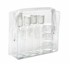 HOLIDAY TRAVEL CLEAR PLASTIC BOTTLES PACKS 100 ml BOTTLES - JARS & CLEAR BAG