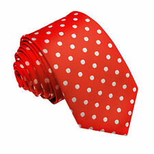 NEW DQT HIGH QUALITY POLKA DOT MEN'S SLIM TIE - RED