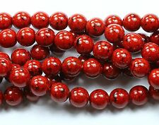 25 Czech Pressed Glass Round Druk Beads Garnet Opaque 8mm