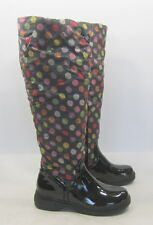 DE BLOSSOM COLLECTION Black COLORFUL dot snow knee boot  SMALL FUR INSIDE Size 9
