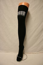BAR CODE ON BLACK COTTON OVER THE KNEE THIGH HIGH EXTRA LONG SEXY SOCKS