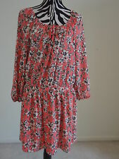 NWT.Ladies' juicy couture multi color floral boatneck elastic waist dress;L