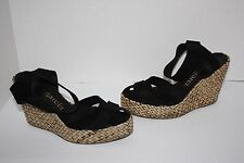 Womens $400 Pedro Garcia Ruth Peep-Toe Palm Leather Wedge Sandals Size 40.5