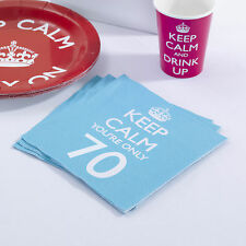 20 x Keep Calm Party Age 70 Napkins 70th Birthday Napkins - Blue FREE P&P