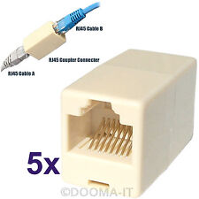 5x Rj45 cat5/cat6e red Ethernet de alambre de cable recto acoplador Carpintero Conector