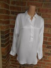 CAbi 100% Silk Blouse Size M Shirt #937 Tunic Top Long Sleeve Woman Ivory