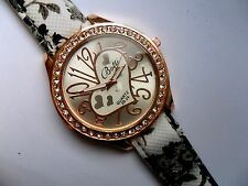 Smart  Heart and  Crystal Quartz Watch  Patterned Denim Strap  a