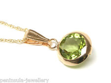 """9ct Gold Peridot Pendant and 18"""" chain Made in UK Gift Boxed"""