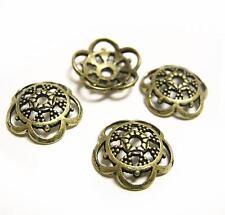 24pc 12mm antique bronze finish metal bead cap-8376