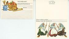 1 VINTAGE KITCHEN WITCHES BROOM CARD 1 BREAD APPLE PEAR SPECKLEWARE RECIPE PRINT