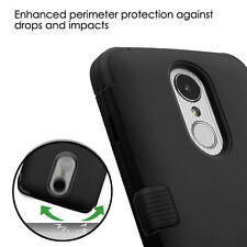 for LG ARISTO MS210 - FULL BLACK ARMOR HIGH IMPACT DEFENDER PHONE CASE COVER