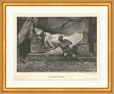D. Paolocci. Othello Desdemona Bett Liebe Trauer Tod Ohrring Holzstich A 1115