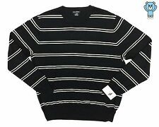 Club Monaco Men's Black White Stripes Cashmere Blend Crewneck Sweater Medium