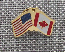America/Canada Flag Pin, Metal, Badge, Souvenir, Yellow Finish, 1""