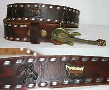 "Vintage HAND TOOLED Belt Cowboy Country Music GUITAR Buckle // 32-35"" /102"