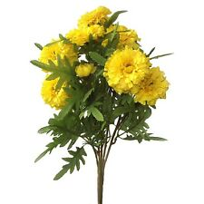 Artificial Yellow Marigold Bush - 40 cm - Spring and Summer Flower Bedding Plant
