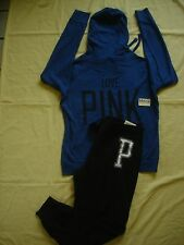NWT New Victoria's Secret Pink Sweat Shirt Hoodie Top Collegiate Pants Set L Hot