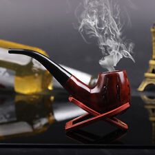 Nice Handmade Red Wood Tobacco Smoking Pipe Pouch+Stand Set For Gift