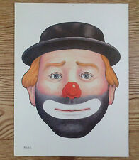 Vintage Die Cut Out Paper Hobo Clown Mask Poster Art Halloween Face Plate 1 9x12