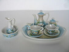 Miniature Tea Set w/Tray and Limoges Pitcher & Wash Basin - Handpainted Floral