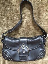 """Authentic Women's Coach Black Leather Medium Handbag Purse 10x6.5"""" Excellent"""