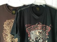 Lucky Brand Lot Of 2  T Shirts ROCK N ROLL 1967 1969 Classic Fit Cotton