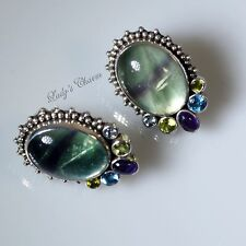 HE Echo of the Dreamer Fluorite Sterling Amethyst Peridot Blue Topaz Earrings