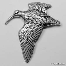 Flying Curlew Pewter Pin Brooch -British Hand Crafted- Wading Sea Bird Sandpiper
