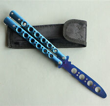 Good Steel Practice BALISONG METAL BUTTERFLY Blue Ver Trainer Knife with Sheath