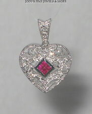 MAGNIFICENT ESTATE 14K WHITE GOLD RED RUBY & DIAMOND HEART LADIES PENDANT