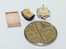 DOLLS HOUSE 24TH SCALE  SHOP COUNTER BILLS SPIKE,& RUBBER SHOP STAMP