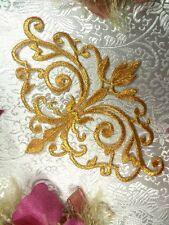 """GB56 Embroidered Applique Gold Metallic Iron On Patch Sewing Crafts Motif 6.5"""""""