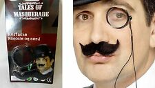 Monocle Cord/Moustache Fancy Dress Poirot French Sherlock Holmes Detective Set