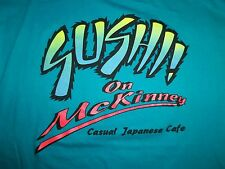 Sushi on McKinney Casual Japanese Cafe Plano Turquoise Graphic Print T Shirt L
