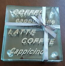 Set of x4 Square Glass Coffee, Latte, Cappuccino etc...Coasters  - NEW