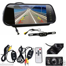 "7"" LCD Mirror Monitor+Wireless Car Reverse Rear View Night Vision Backup Camera"