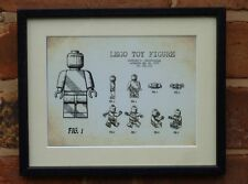 USA Patent Drawing vintage FIRST LEGO TOY figure brick MOUNTED PRINT 1979 Xmas
