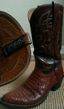 LUCCHESE * EXOTIC CROCODILE * BROWN LEATHER COWBOY BOOTS // 9 D