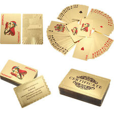 24K Carat Gold Foil Plated Poker Game Playing Cards Gift Collection +Certificate