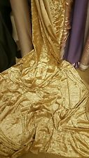 5METER  Gold  CRUSH  STRECH VELVET FABRIC 58INCES WIDE