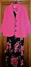 Ladies Studio 1 Dress and Jacket Size 22W Pink and Black Preowned