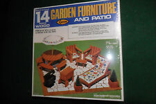 Doll House Miniature 14 pc Wood Garden Furniture and Patio Kit - Arrow - Sealed!
