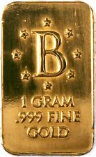 "GOLD 1 GRAM 24K PURE GOLD BENCHMARK BULLION BAR 999 FINE PURE GOLD ""B"" DIE H1g"