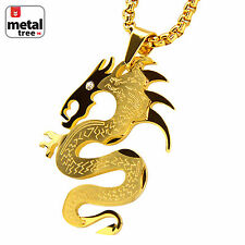 """Boy's 14k Gold Plated Stainless Steel Dragon Pendant 24"""" Box Necklace SCP 124 G"""
