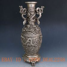 Chinese Silver Copper handwork Carved Dragon Vase w Xuande Mark gd6886