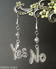 Quirky Fun Asymmetric 'Yes' and 'No' Charm Dangly Earrings